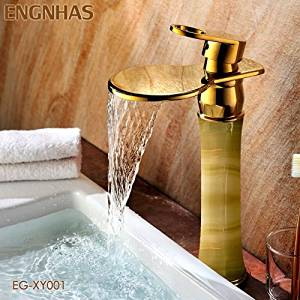 Furesnts Modern home kitchen and bathroom faucet Copper basin Faucets jade waterfall Faucets basin on the stage leading European gold copper basin Faucets,(Standard G 1/2 universal hose ports)
