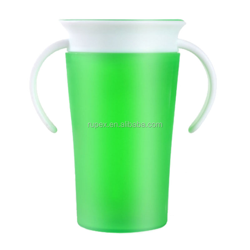 Best sale toddle baby drinking rotation anti spill plastic 360 degree miracle training cup with e handle
