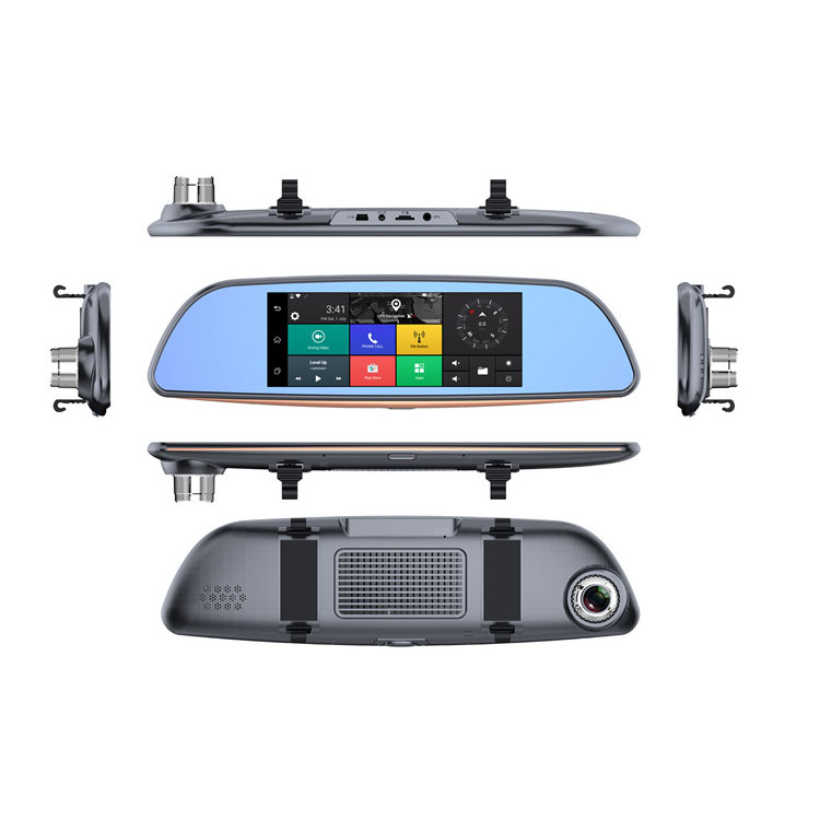 Car dvr camera 7inch Android 5.0 system 3G online GPS navigation GPS tracker dual lens rearview mirror camera