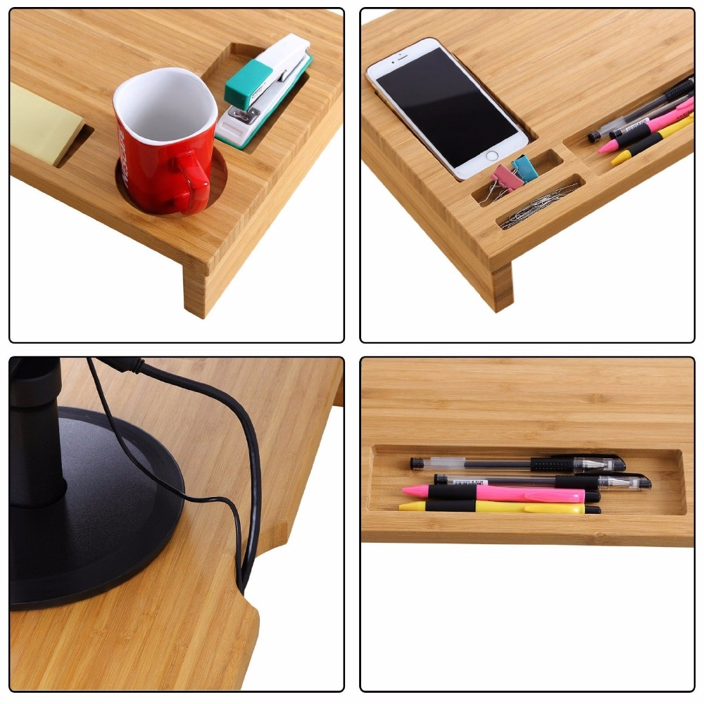 bambou naturel en bois massif ordinateur portable cran d 39 ordinateur support de bureau riser. Black Bedroom Furniture Sets. Home Design Ideas