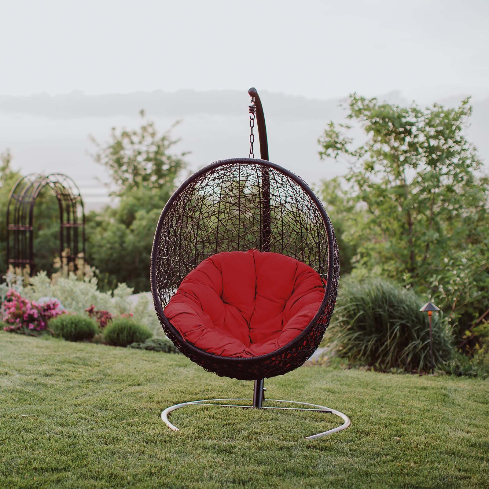 Modway EEI-739-RED-SET Encase Wicker Rattan Outdoor Patio Balcony Porch Lounge Egg Swing Chair Set with Stand Red
