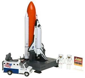 """Space Shuttle And Toy Rocket Ship Set - 10 Piece Complex 39 Launch Site with Astronauts, Rockets, Space Shuttle, and Ground Vehicle - Measures 15"""""""