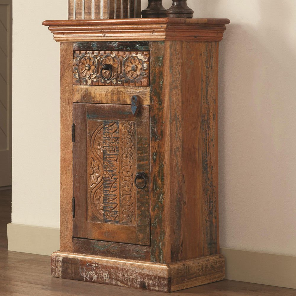Simple Relax 1PerfectChoice India Antique Storage Accent Cabinet Petite Rustic Reclaimed Wood Mixture Teak