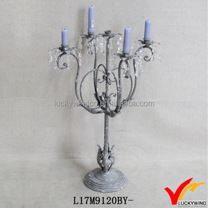 Vintage Gray Metal Candle Holder 5 Arms Crystal Candelabra