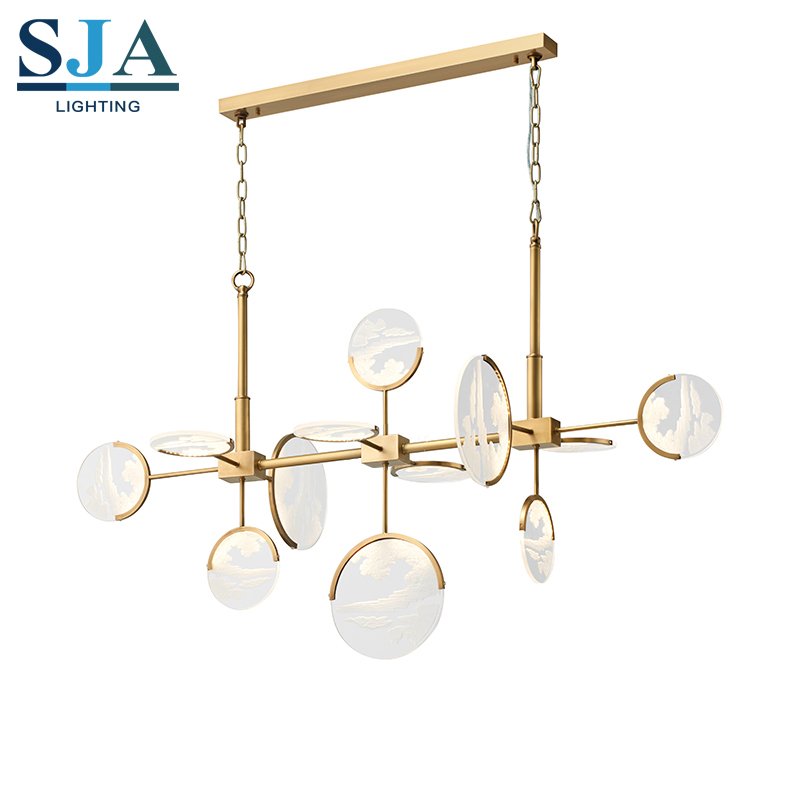 Copper led golden color acrylic twelve arms lamp led home pendant lighting <strong>modern</strong>