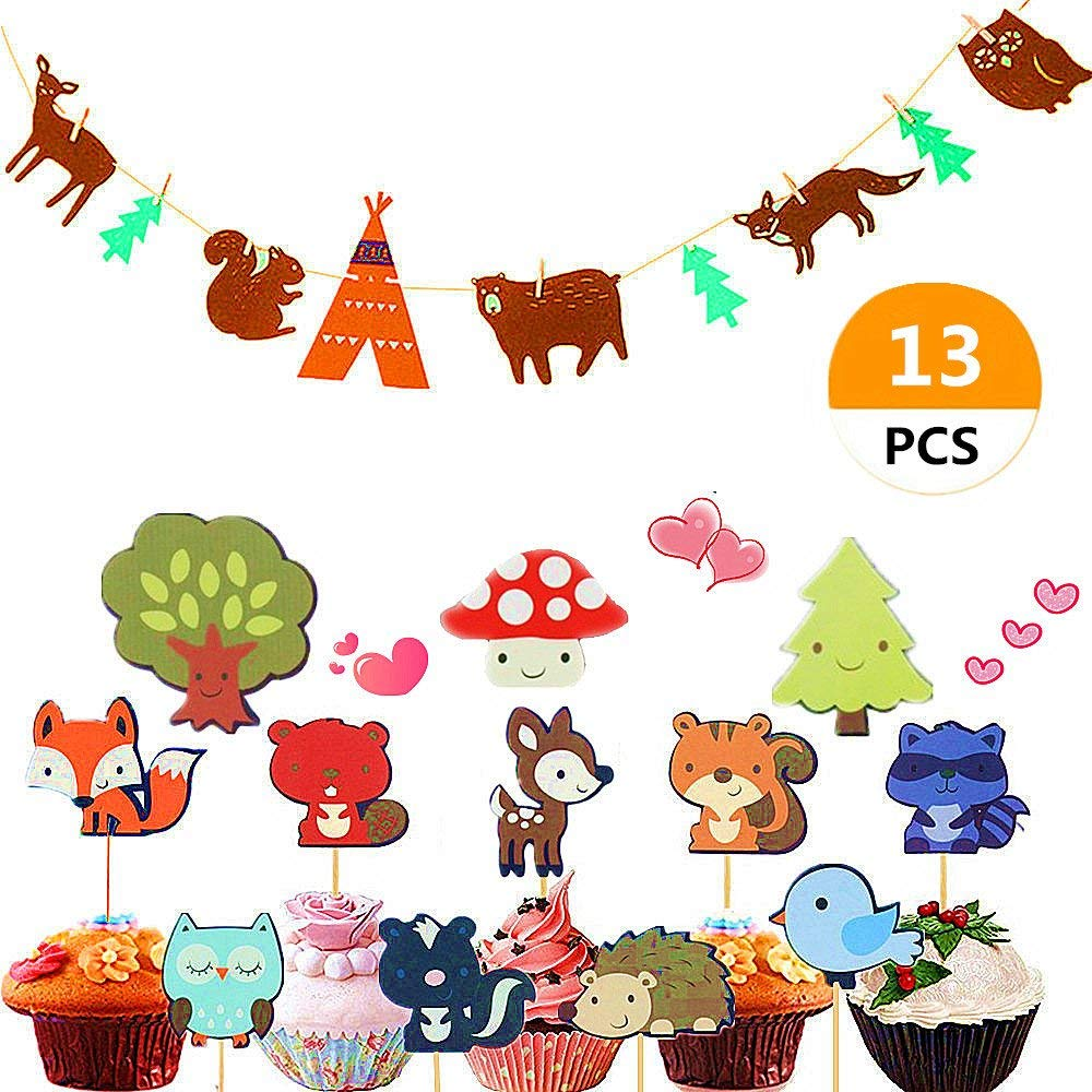 (Set of 13) Sakolla Woodland Creatures Banner and Animal Friends Cupcake Toppers Forest Animals Garland Woodland Theme Baby Shower Birthday Party Cake Decoration Supplies