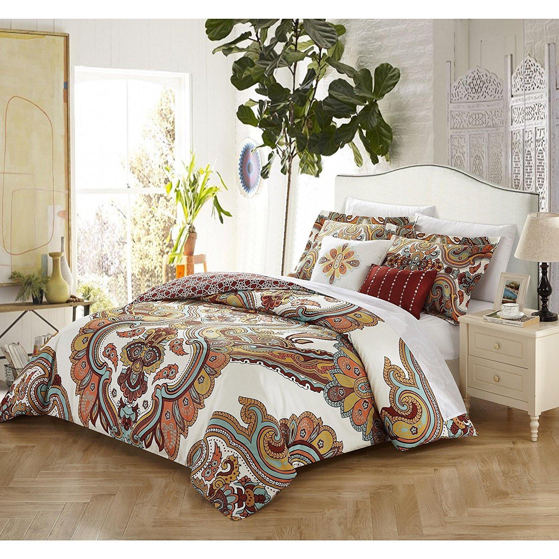 5 Piece Tan Teal Burgundy White Bohemian Theme Comforter Queen Set, Beautiful Boho Chic Artistic Tone Bedding, Paisley Floral Scroll Mandala Motif Themed Pattern, Cotton