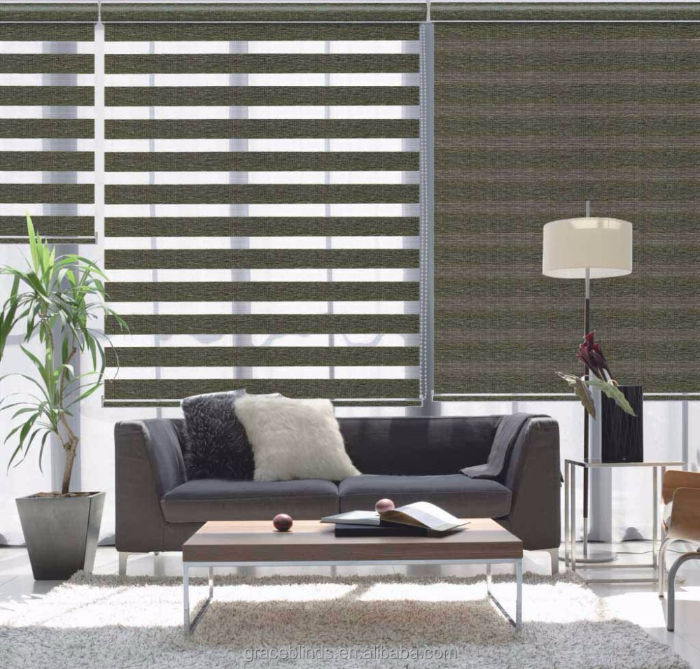 Double Layer Polyester Zebra Blinds Day And Night Roller Fabric
