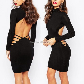 Manufacturer New Design Long Sleeve Strap Backless Black Tight Sexy