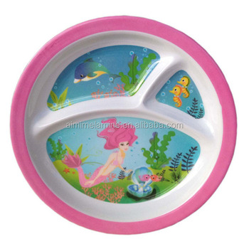 High Quality Kids Melamine Divided Plate With 3 Compartment - Buy ...