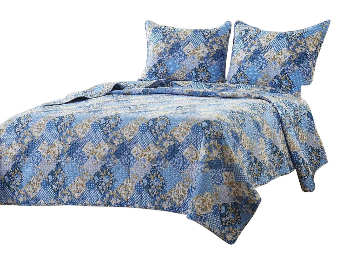 Web Linens Inc 2pcFloral Blue PatchworkQuilt Set - Style # 1048 - Twin/Twin XL - Cherry Hill Collection