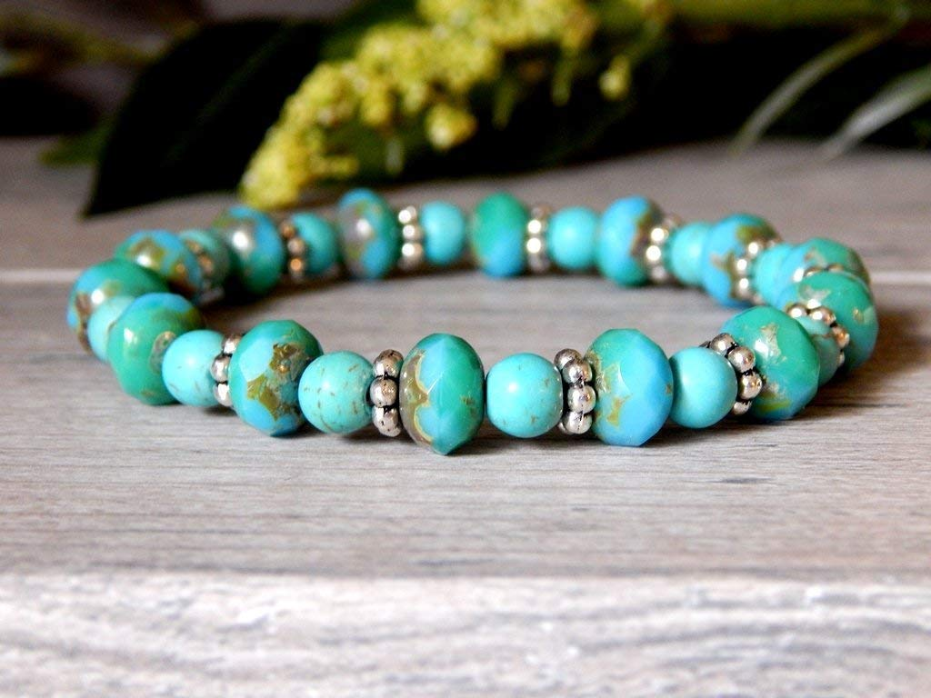 Bracelet Beaded Turquoise Howlite Blue Boho Women Bohemian Stretch Jewelry Navajo American Indian Style
