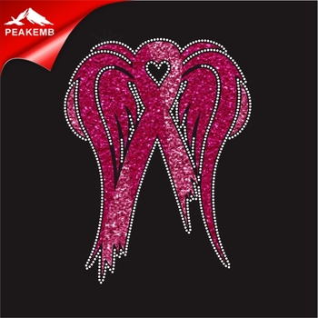 Breast cancer pink Wing ribbon custom Glitter rhinestone transfers