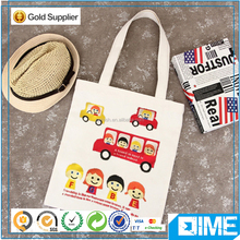 Cute Bus Standard Size Organic Cotton Shopping Tote Bag