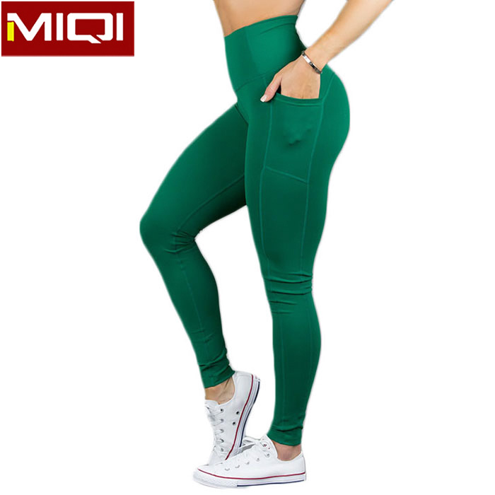 Womens Athletic Apparel Factory MIQI Direct Supply High Waist Tight Yoga Pants with Pocket