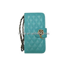 Wholesale hot selling Lingge folio leather wallet case for iPhone 5 with card slot,diamond flower snap and stripe