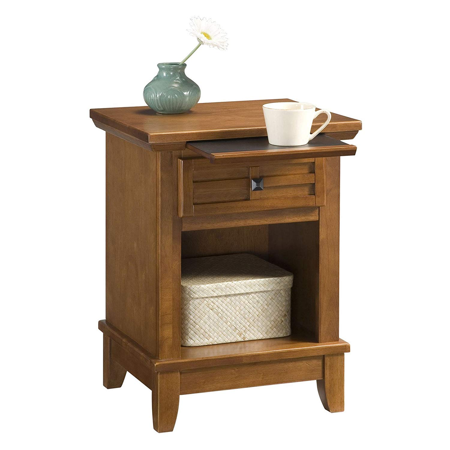 Classy Bedroom & Guest Room Nightstand With Square Brushed Nickel Hardware, Pull-Tray With A Scratch- And Stain-Resistant Finish, Hardwood Solids & Engineered Wood Construction, Oak Finish