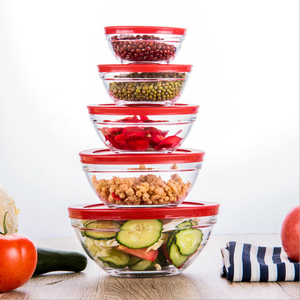 Promotion 5pc glass salad fruit bowl sets with PP/plastic lids tableware items