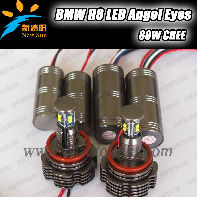 2014 Factory New Style 40W H8 C REE LED Angel Eyes for BMW E90 E92 E60 E70 X5 X6 E84 E89, total 80w c ree led headlight