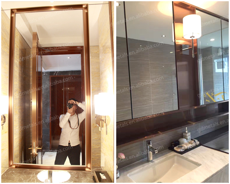 Customized shape high end popular decorative stainless steel mirror frame
