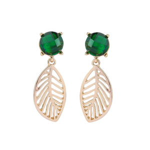Green Crystal earring studs Fashion decorative jewelry fresh emerald stud hollow gold plating leaf drop earrings for women