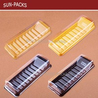 PET/PVC rectangular disposable clear plastic / cake trays with transparent cover lid