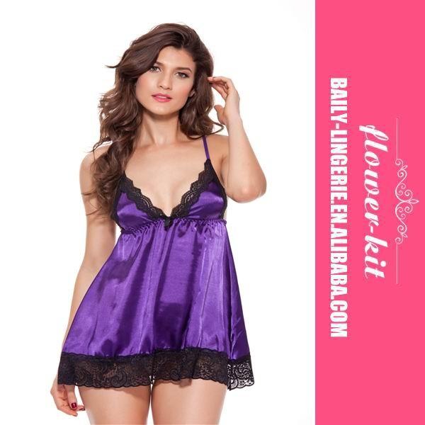 7259e9b27506 High Fashion Hot Sale purple sexy chiffon babydoll sexy sleepwear and  nightwear plus size babydoll sleepwear