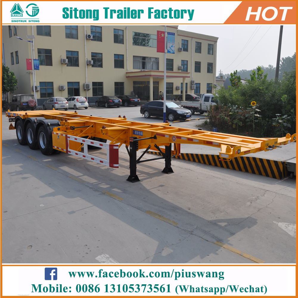 Leading factory 3 axle shipping container trailer price 20ft 40ft skeletal chassis semi trailers for sale