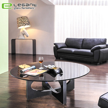 Luxury furniture black glass round coffee table
