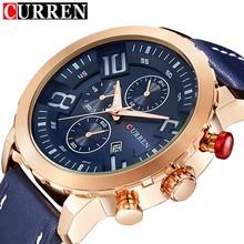 b459afd8e6d Exibição do Calendário CURREN Ouro Dial Pulseira de Couro relógio de Pulso  para Mens Fashion Style