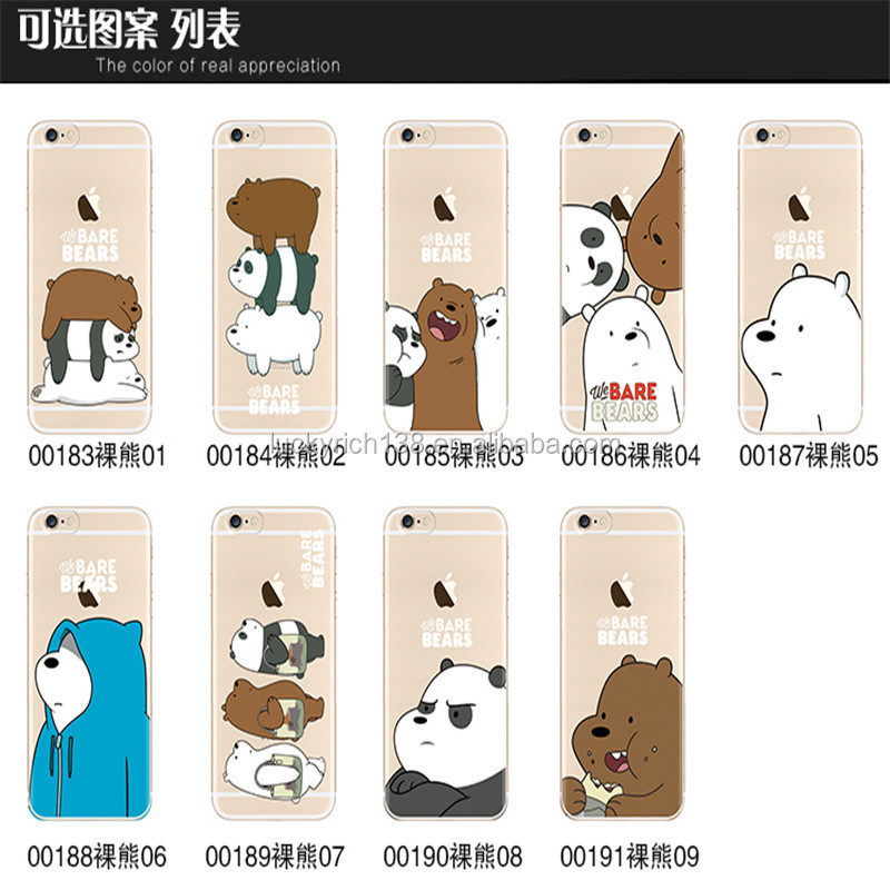 We bare bears TPU cell phone case for Iphone 5,5SE,6,6+,7,7+