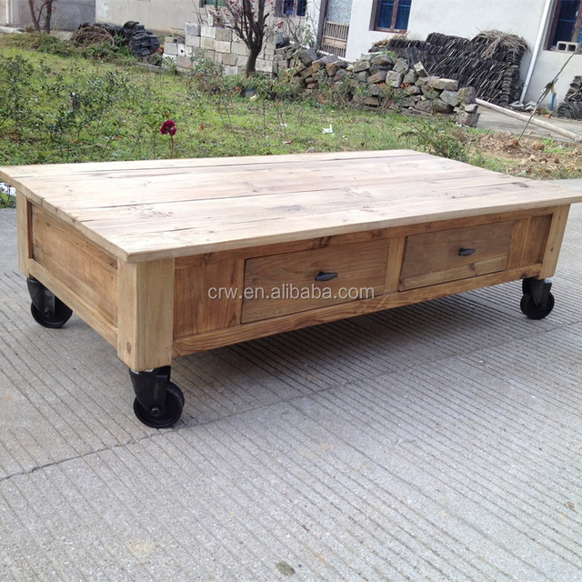 RE 1535 Movable Coffee Table Old Door Industrial Coffee Table With Wheels
