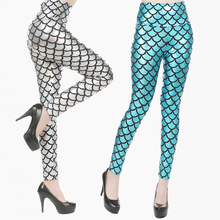 Dimensione media Delle Donne Sexy Olografica Stampa Digitale Mermaid Scala di Pesci Metallic Geometrica Stretch <span class=keywords><strong>Leggings</strong></span> Pants