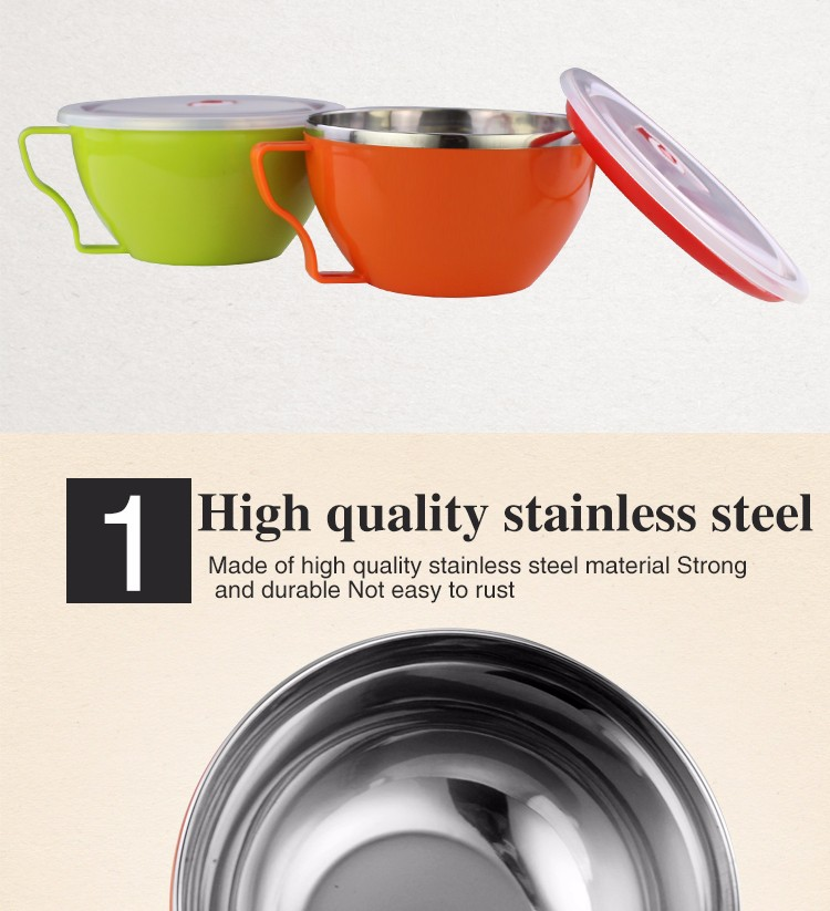 High quality colorful instant noodle bowl with lid double wall stainless steel thermal insulation food bowl
