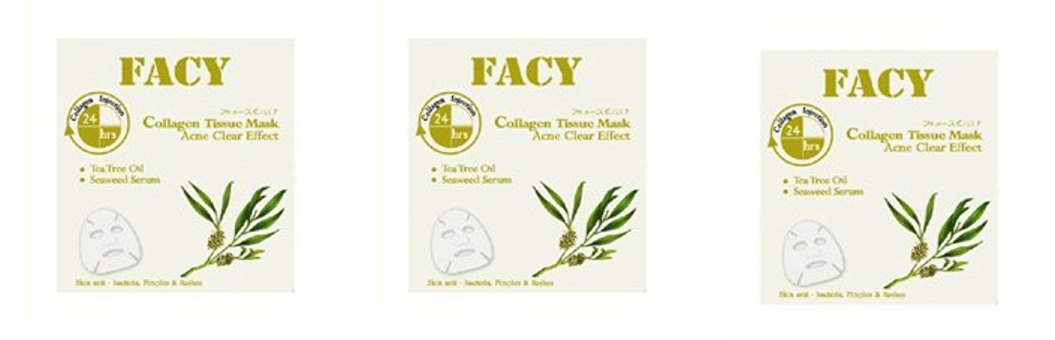 Beauty Set : 3 Units of Facy : Acne Free Collagen Tissue Mask Anti-Bacteria Pimples & Rashes Beauty Product of Thailand [Free Facial Hair Epicare Spring A1Remover]