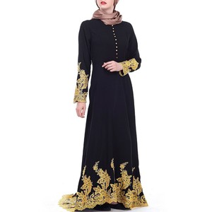 YSMARKET Abaya Kimono Black Party Dress Fancy Design With Golden Lace For Muslim Women Long Sleeve Dresses Casual Ethic Clothes
