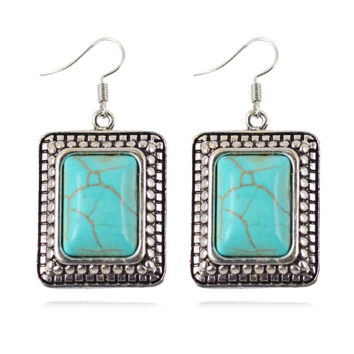 Fashion Turquoise Square Earring Tibetan Silver Plated Jewelry Trendy Bohemian Accessory Turquoise Earring