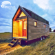 Cheap mobile prefabricated portable modular tiny home house steel kits on wheels with trailer log cabin