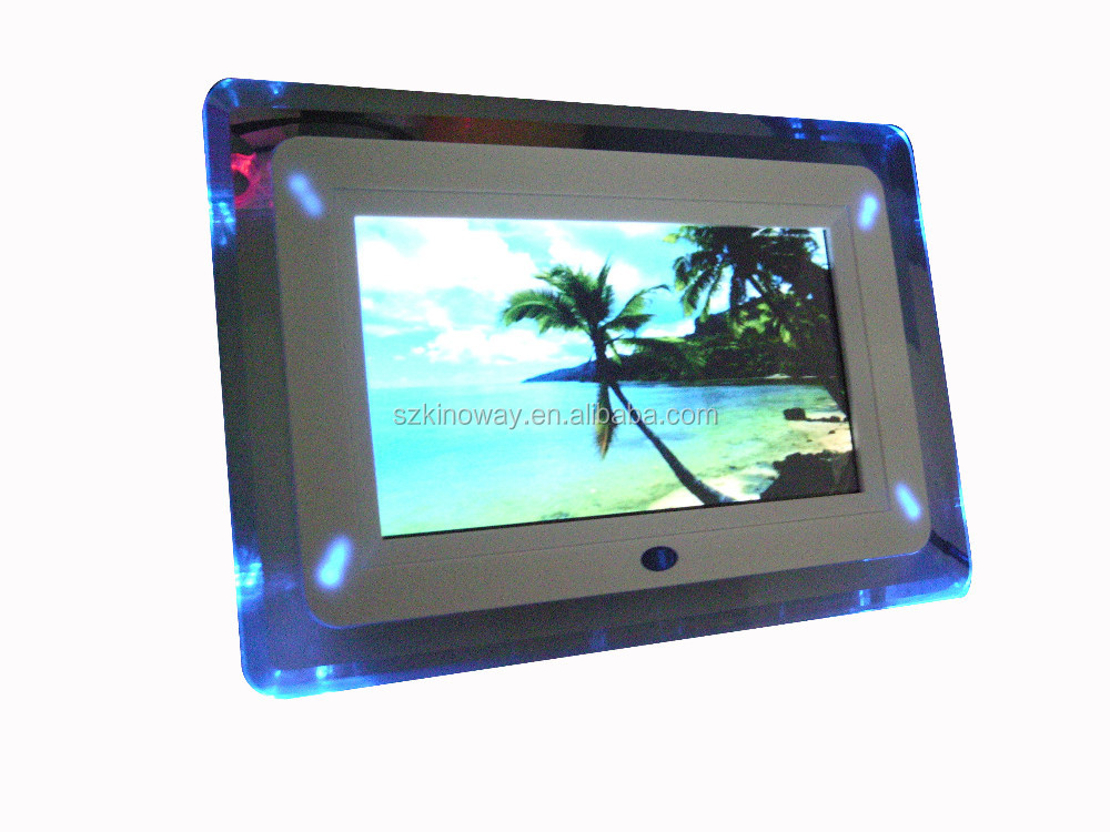 Factory custom LED/LCD 7 inch slim edge-lit acrylic panel digital photo frame with video loop