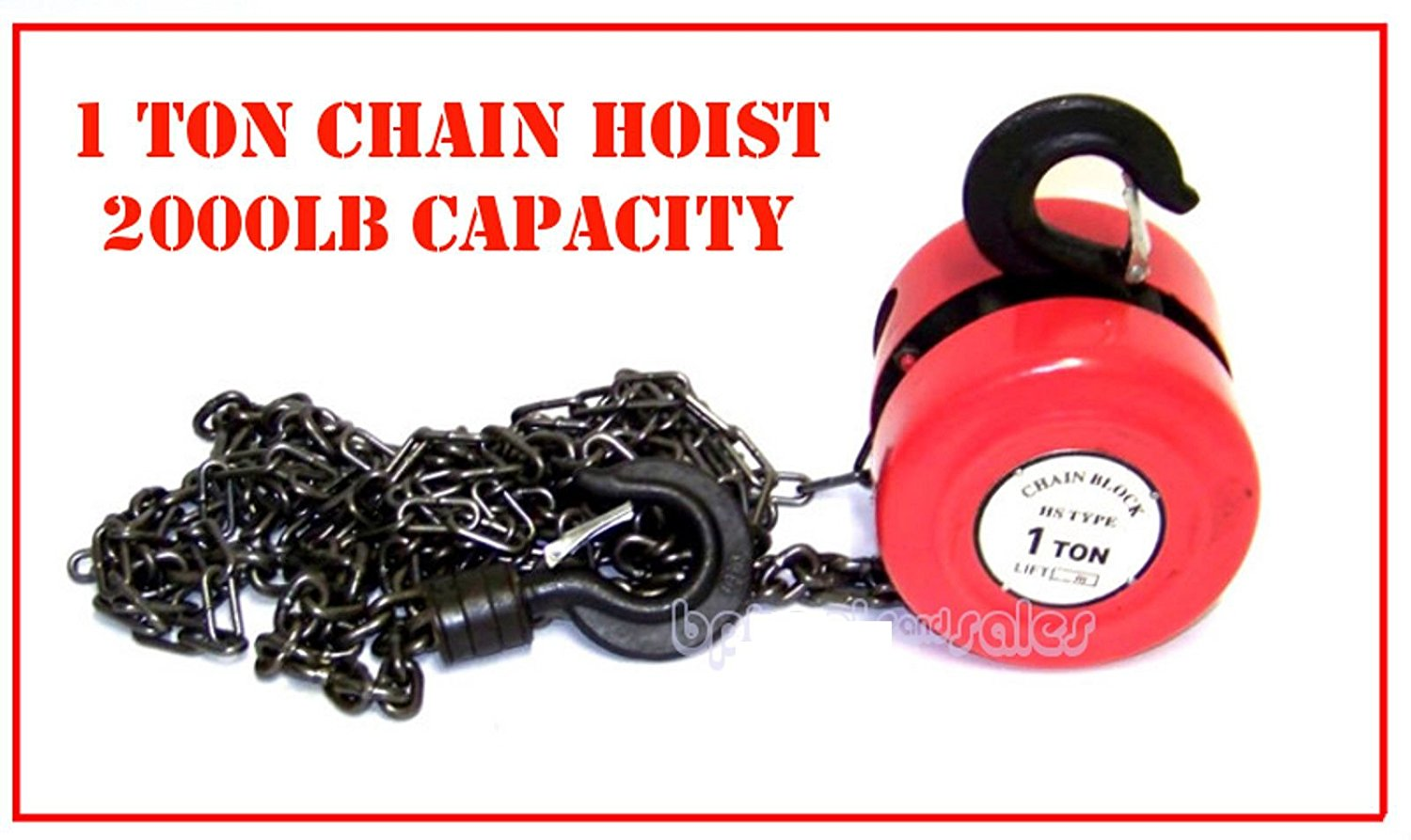 Capacity  8 Chain Hoist 1 Ton 2,000 lb Performance Tool W4005DB Manual Hoist with 2 Hooks