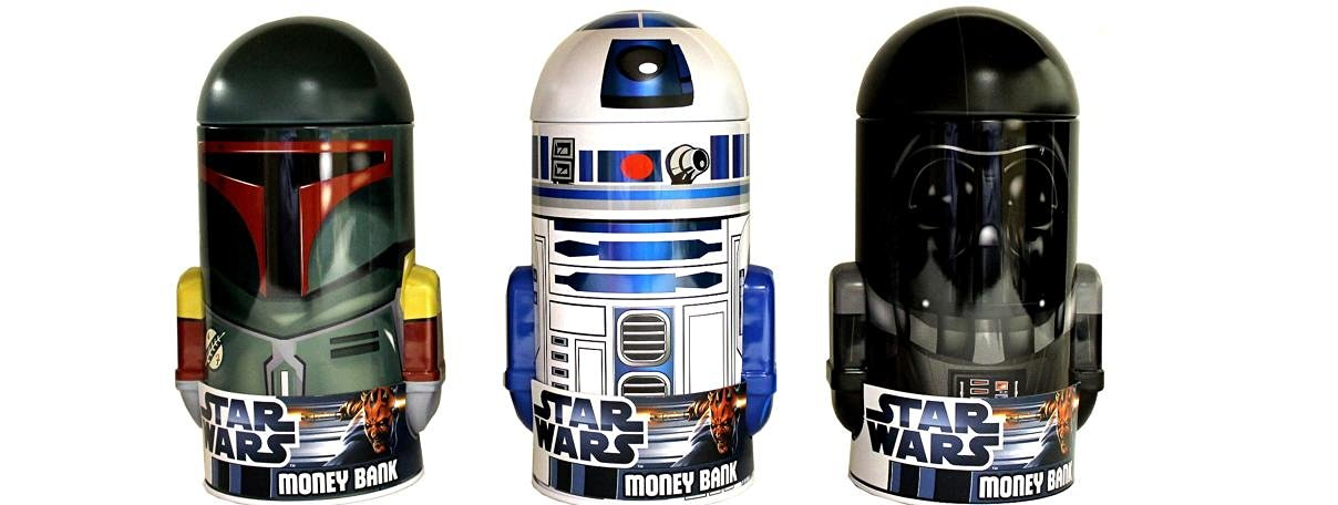 Star Wars Head Shape Coin Bank Tin x 3 (Boba Fett, R2D2, Darth Vader)