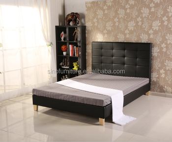 Modern UK European Design Home Furniture Ottoman Faux Leather Storage Bed  With Wooden Frame