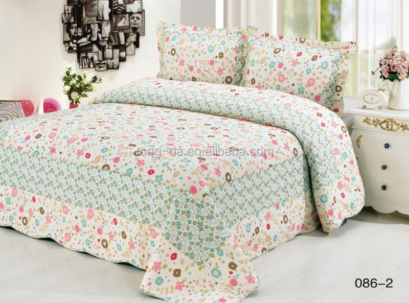 Brand new style pretty flowers bedding set patchwork quilt cotton quilt