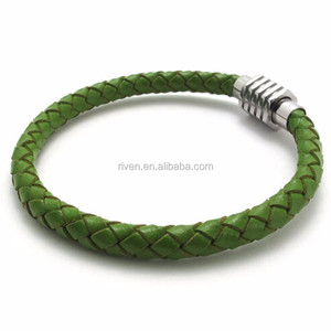 PK0323 Unique Clasp Green Braided women leather bracelet green