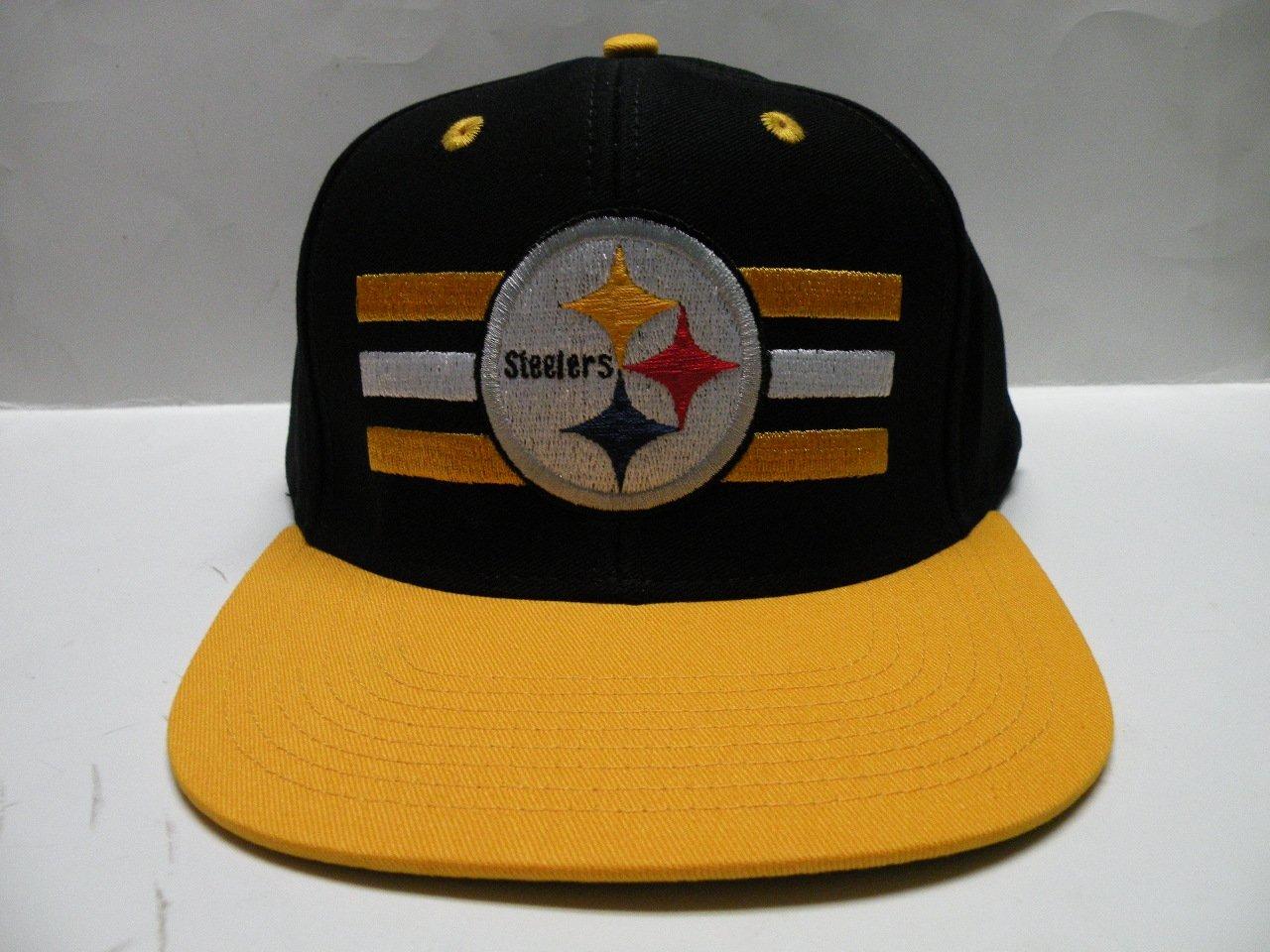 8cde3d908 Get Quotations · NFL Pittsburgh Steelers Horizon Black Gold 2 Tone Retro Snapback  Cap