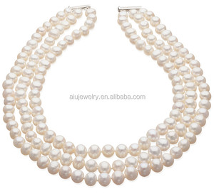 Natural Shell Triple pearl necklace jewellery