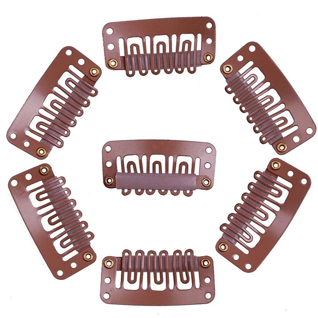 100 Pieces U-shape Snap Clips Hairpiece Metal Clips Wig Clips for Hair Extension DIY Tool 3.2cm (Light Brown)