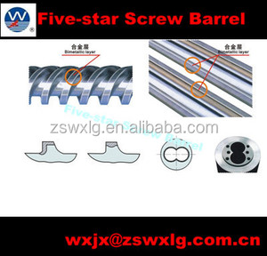Tungsten carbide extruder screw barrel with bimetallic sleeve