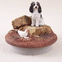 """Conversation Concepts Miniature Cavalier King Charles Spaniel Black & White Candle Topper Tiny One """"A Day on the Farm"""""""