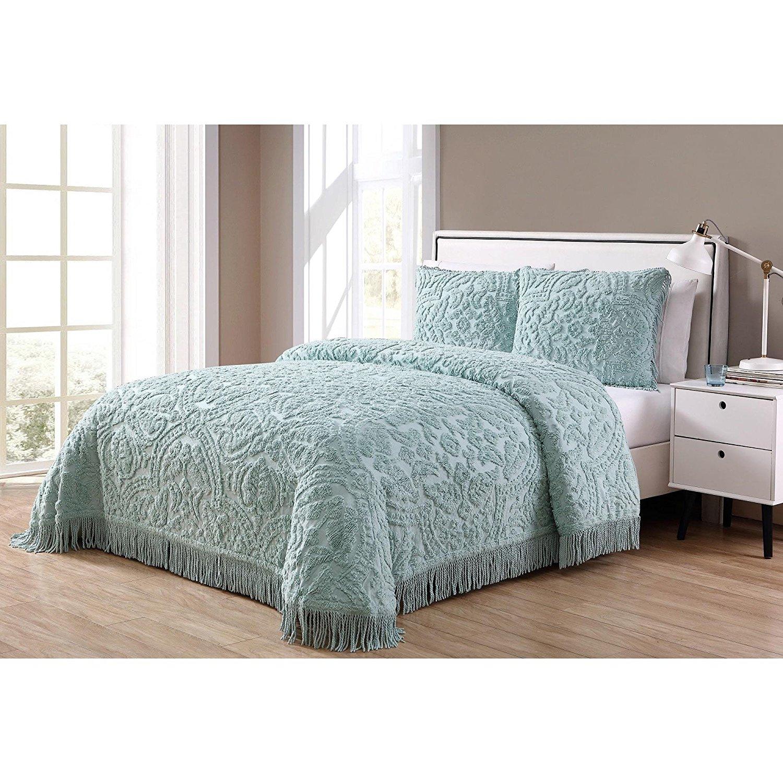 Buy Elegant Chenille Fringe Bedspread, Green, Queen In